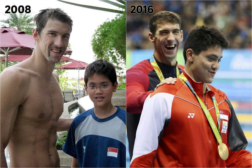 The now viral photo of Schooling, a bespectacled lad of 13, posing beside the hulking Phelps shows how far the young swimmer has come.