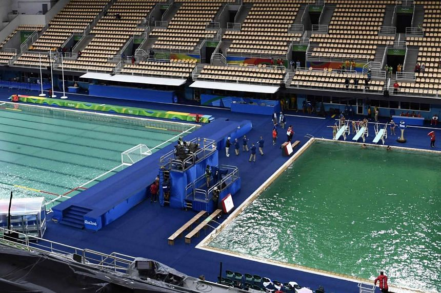 A picture taken on Aug 10, 2016 at the Maria Lenk Aquatics Stadium in Rio de Janeiro shows the Water Polo (left) pool and the diving pool of the Rio 2016 Olympic Games.