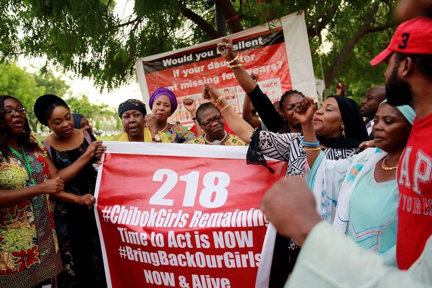 Members of the #BringBackOurGirls (#BBOG) campaign demonstrating during a sit-out in Abuja, Nigeria, on May 18, 2016.