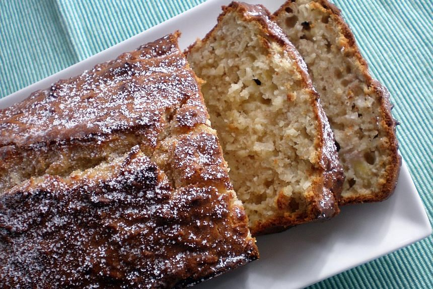 The shredded coconut and banana loaf (above) can be eaten any time.