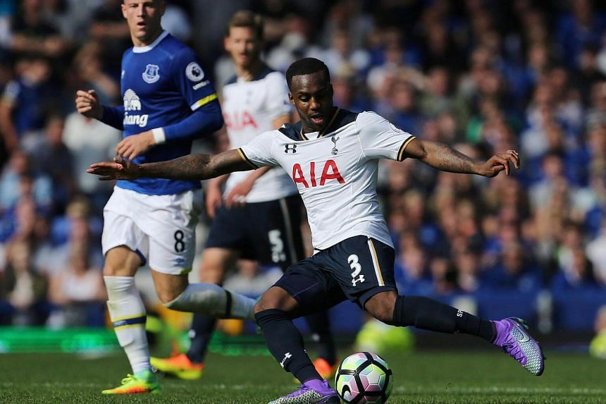 Tottenham Hotspur's English defender Danny Rose plays the ball during the English Premier League football match between Everton and Tottenham Hotspur at Goodison Park, Liverpool on August 13.