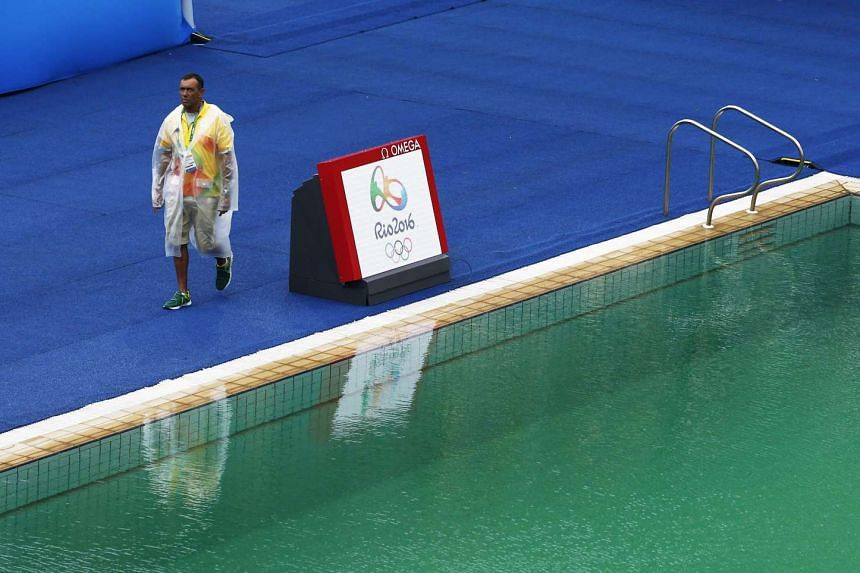 The water in the diving competition pool is green on Aug 10, 2016.