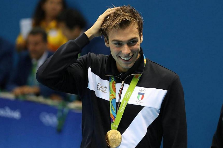 Gold medalist Gregorio Paltrinieri of Italy after the medal ceremony for the men's 1500m Freestyle Final races.