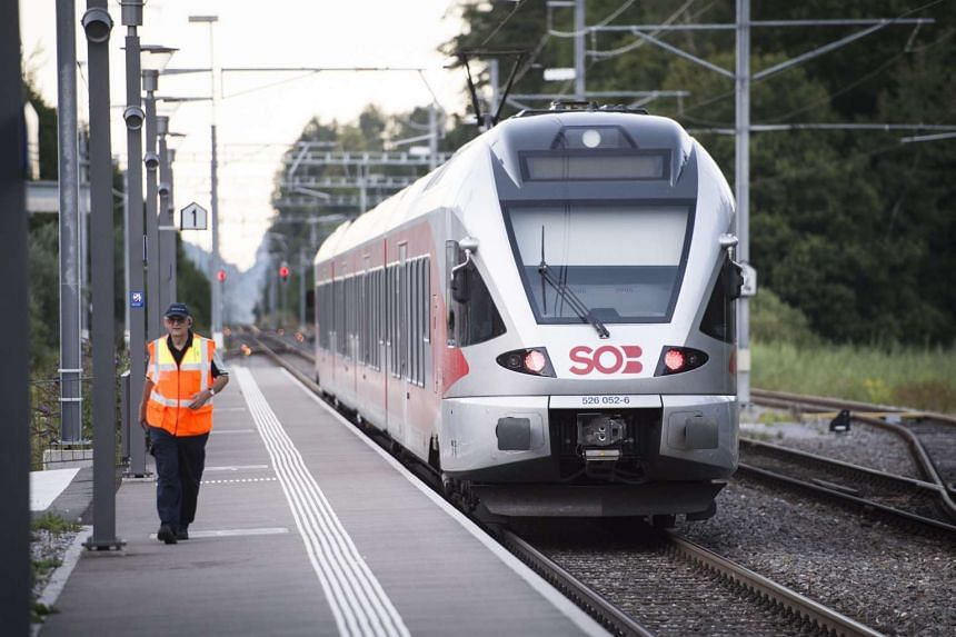 The train stands at the station following an attack onboard, in Salez, Switzerland, Aug 13, 2016.