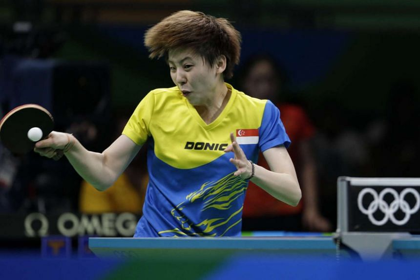 Zhou Yihan hitting a return against Ding Ning of China, during the women's table tennis team semi-finals, on Aug 15, 2016.