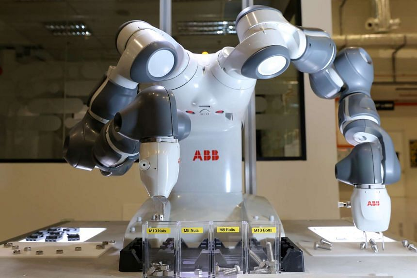 YuMi - short for You and Me - is a robot developed by Switzerland-based power and automation group ABB. It is known for being able to assembly small components. It can also sort nuts and bolts of different sizes.