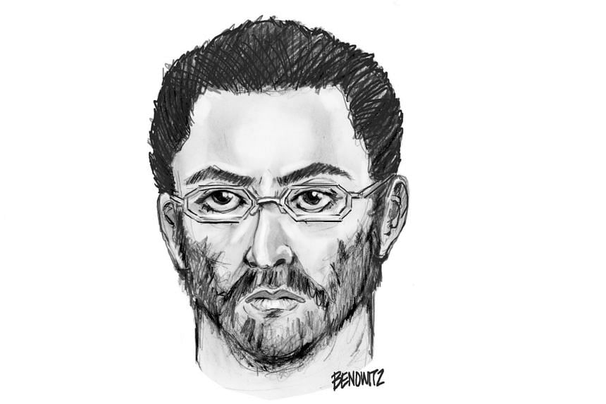 A sketch of a suspect in the shooting of a Muslim cleric and an associate, who were killed while walking together following afternoon prayers at a mosque in the New York City.