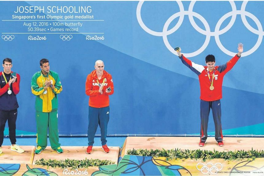 The Straits Times is including a two-page set of posters in its Aug 15 sports section to commemorate national swimmer Joseph Schooling's historic Olympic win.
