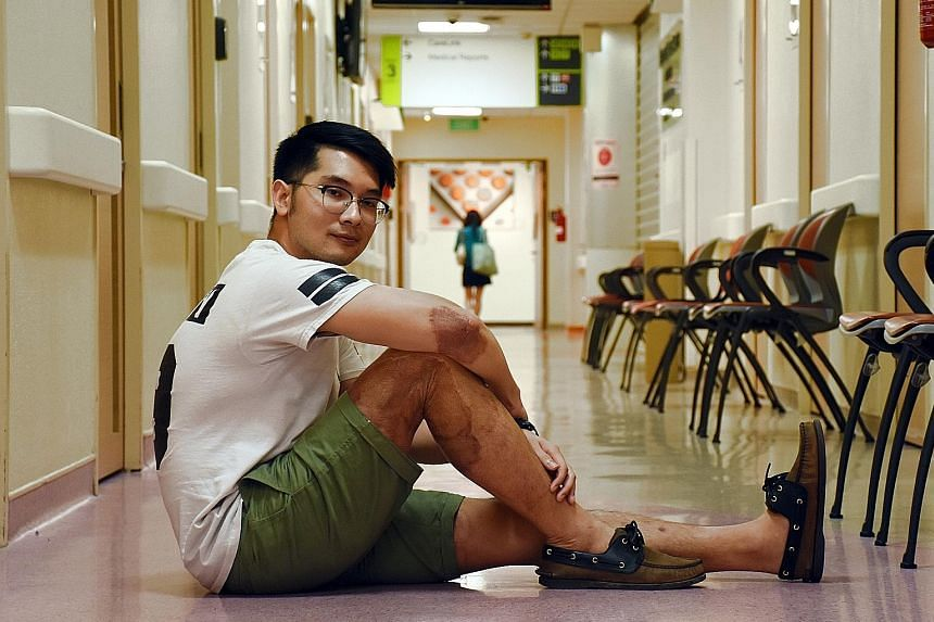Entrepreneur Jason Lim (above) hopes to help patients with trauma and reach out to burn patients by sharing his story online. He, too, is a burn survivor. He was hospitalised for 44 days in 2014, after a road accident in Cambodia scorched about 20 pe