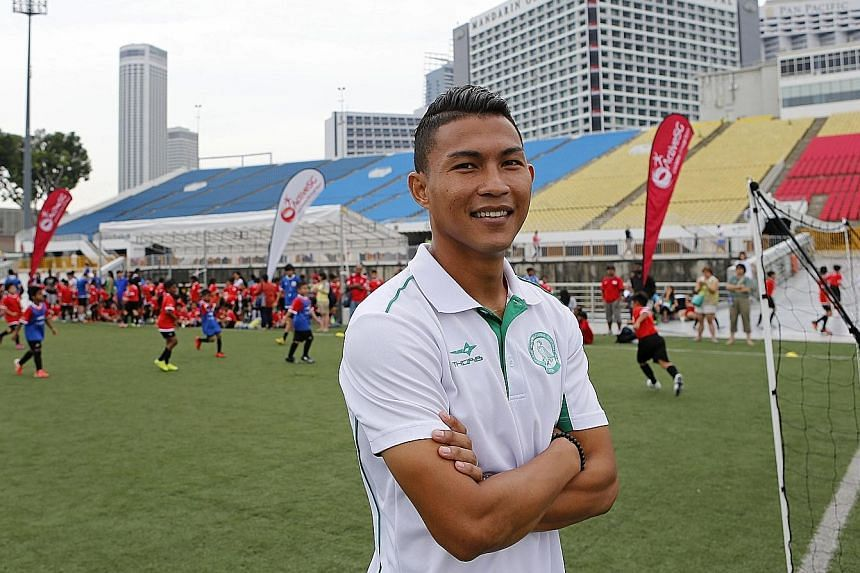Geylang captain Isa Halim, head coach at the sixth and newest ActiveSG Football Academy centre at Bedok Stadium, is the only one still playing professionally.