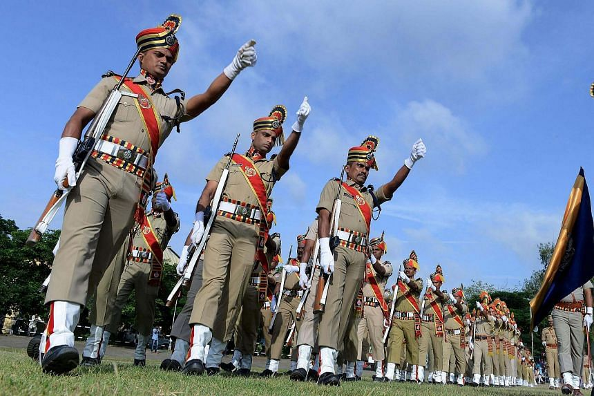 Indian Railway Protection Force personnel march during Indian Independence Day celebrations at South Central Railway Grounds in Secunderabad, the twin city of Hyderabad on August 15.