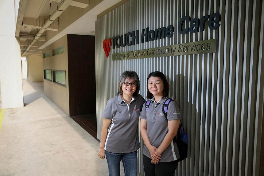 Nurse manager Ms Josephine Koh (left) and community staff nurse Ms Ong Sock Lee.