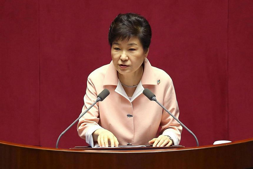 South Korean President Park Geun-Hye delivers a speech during a ceremony in parliament in Seoul on June 13.