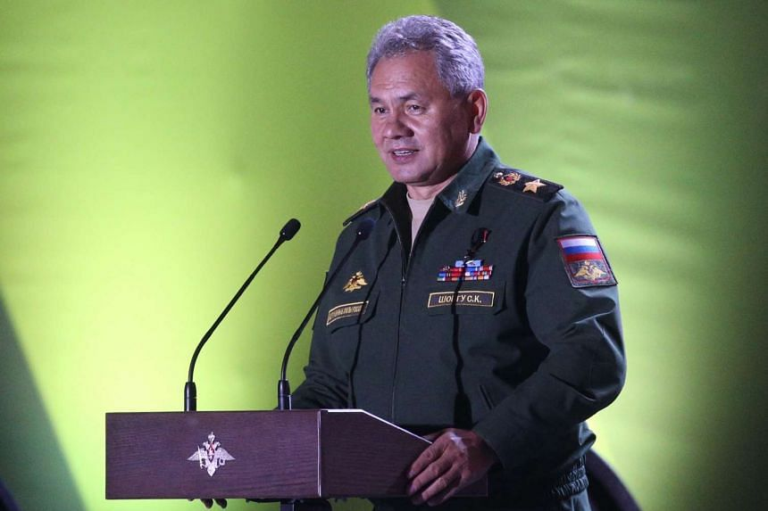 Russian Defence Minister Sergei Shoigu speaks during the closing ceremony of the Army Games 2016.