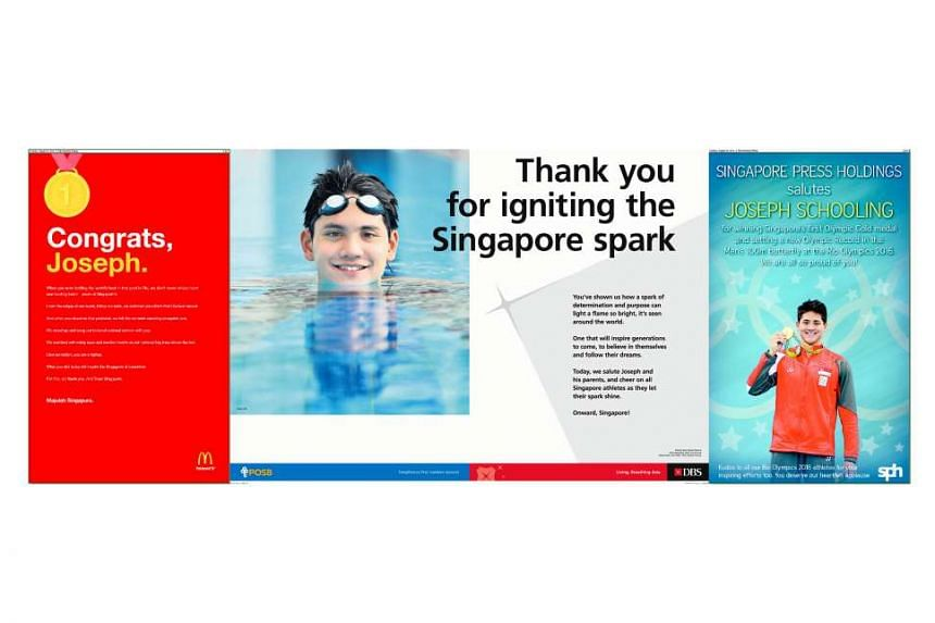 Hours after Schooling's Olympic gold-winning feat, several companies took out advertisements congratulating him. They include McDonald's (left), DBS (centre), Singapore Press Holdings (right), Singtel, Select Group and Brands.