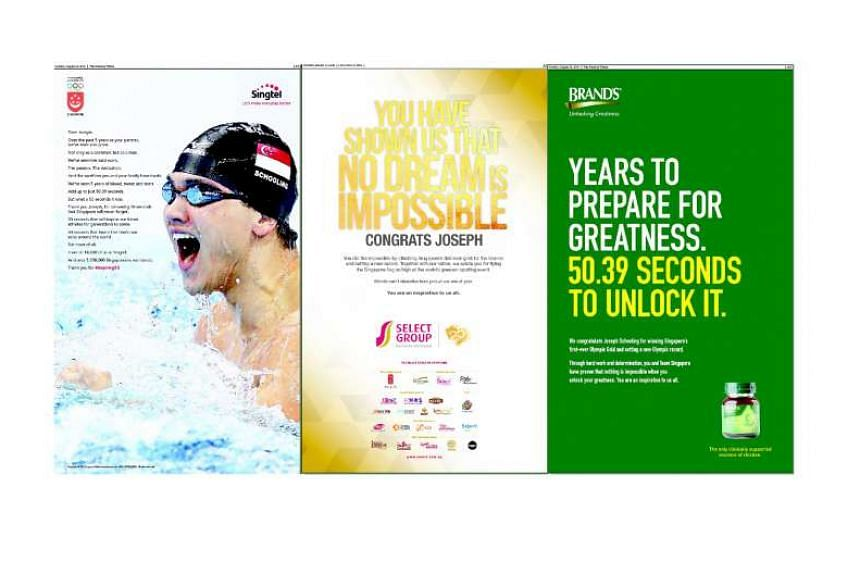 Hours after Schooling's Olympic gold-winning feat, several companies took out advertisements congratulating him. They include McDonald's, DBS, Singapore Press Holdings, (from left) Singtel, Select Group and Brands.