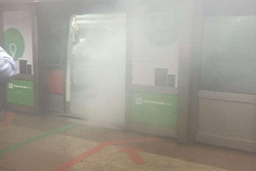 Smoke fills the Tanjong Pagar MRT station on Aug 15, 2016.