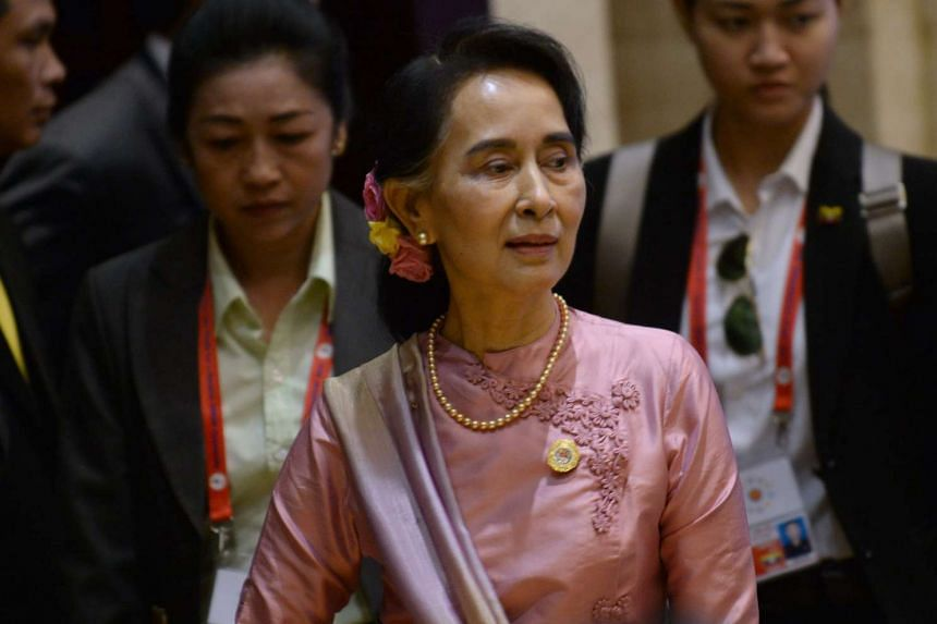 Myanmar leader Aung San Suu Kyi at the planary session of the Association of Southeast Asian Nations' (ASEAN) 49th annual ministerial meeting in Vientiane on July 24, 2016.