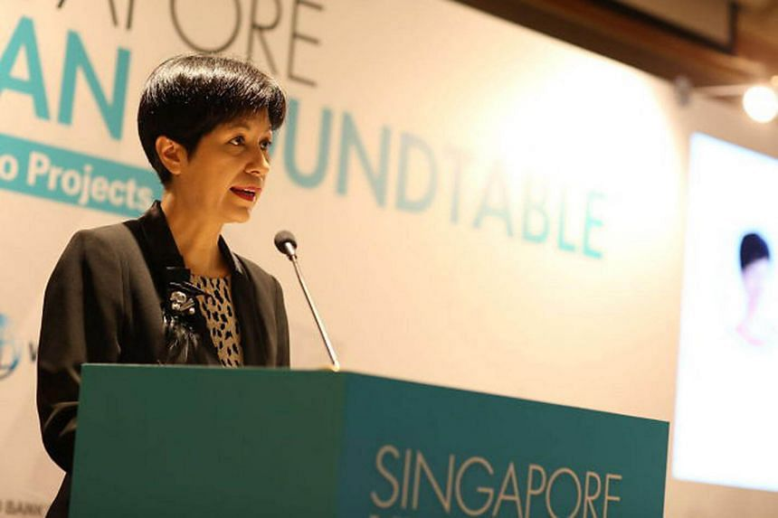 Senior Minister of State for Finance and Law Indranee Rajah speaking at an event on March 10.