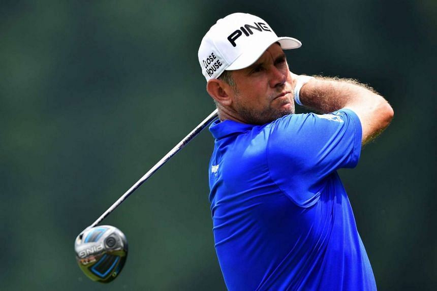 Lee Westwood  plays his shot from the sixth tee during the third round of the 2016 PGA Championship at Baltusrol Golf Club on July 30.