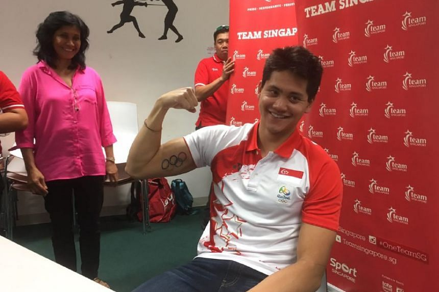 Singapore swimmer Joseph Schooling's new Olympic tattoo is seen during an interview on Aug 16, 2016.