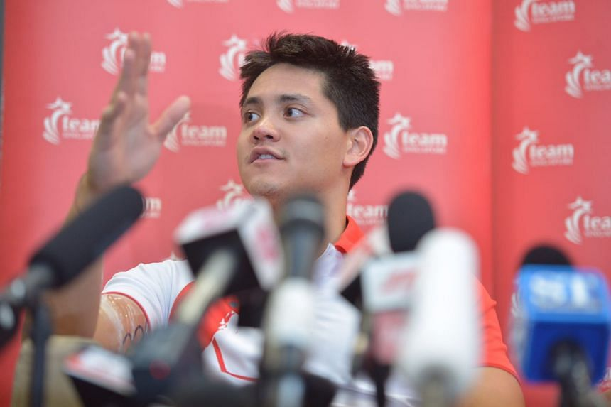 Olympic gold medallist Joseph Schooling attends a press conference at the Sports Hub on Aug 16, 2016.