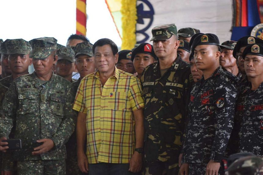 Philippine President Rodrigo Duterte during a visit to a military camp in the town of Jolo, Sulu province, in the southern island of Mindanao on Aug 12, 2016.