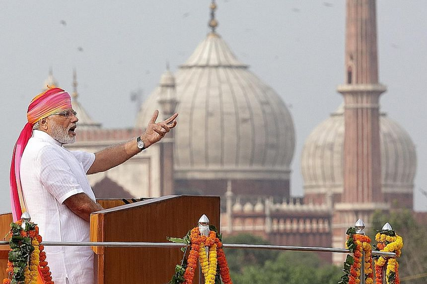 Prime Minister Modi giving his Independence Day address from the Red Fort in New Delhi yesterday. In a 94-minute speech, he blasted supporters of terrorism and highlighted what he said were his government's achievements in improving the lot of ordina