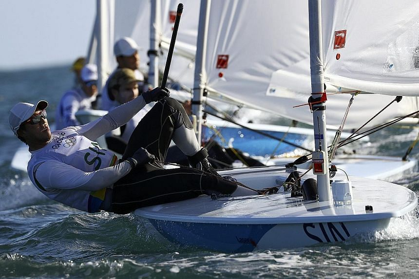 Colin Cheng sailing his Laser dinghy in the waters of Guanabara Bay on the final day of racing last Saturday. His first and last races went well but he finished in 20th place out of a fleet of 46 competitors.