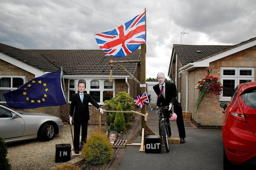 Brexit scarecrows depicting former British PM David Cameron (left) and Foreign Secretary Boris Johnson displayed during the Scarecrow Festival in Heather, Britain, July 31.