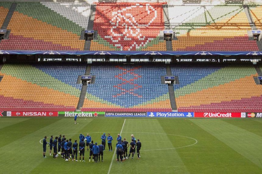 FK Rostov players take part in a training session  on August 15, a day before the UEFA Champions League qualifier football match between Ajax Amsterdam and FK Rostov, at the Amsterdam Arena.