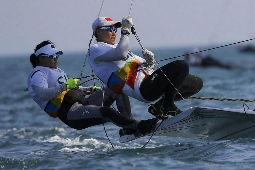 Singapore's sailing duo Griselda Khng and Sara Tan in action.