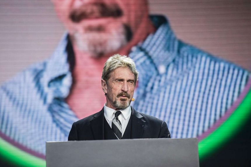 John McAfee, founder of the eponymous anti-virus company, speaks during the China Internet Security Conference in Beijing on Aug 16, 2016.