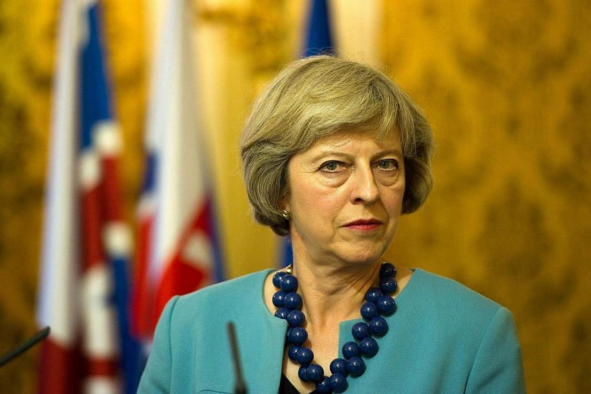 British PM Theresa May at a press conference in Bratislava on July 28.