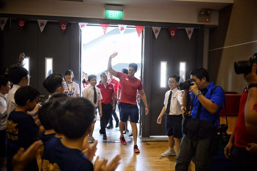 Joseph Schooling returns to school - his alma mater, Anglo-Chinese School (Junior) at Winstedt Road - Tuesday (Aug 16).