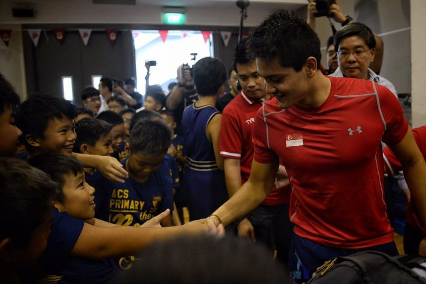 Joseph Schooling interacts with students at his alma mater, Anglo-Chinese School (Junior) at Winstedt Road.
