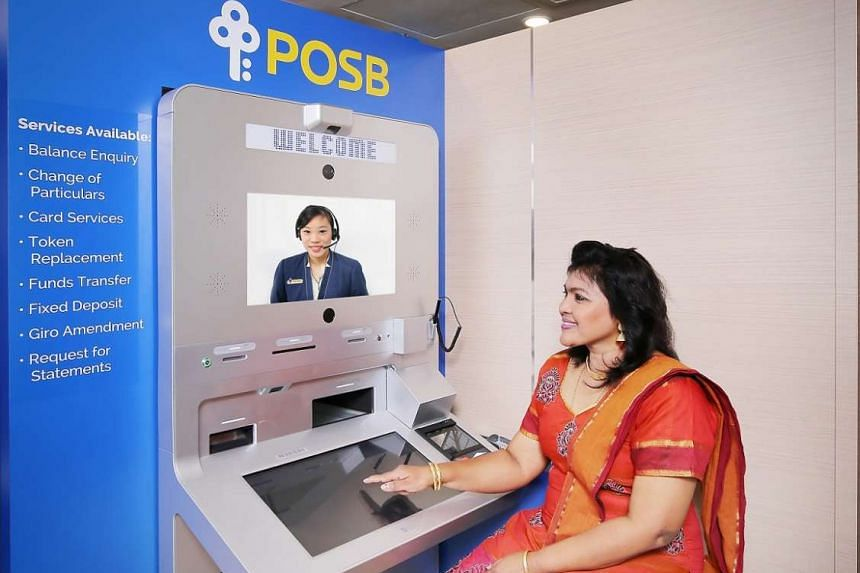"""POSB VTMs will soon be able to provide round-the-clock branch banking services to customers, with the option of """"face-to-face"""" assistance from bank tellers via live-video streaming. PHOTO: DBS"""