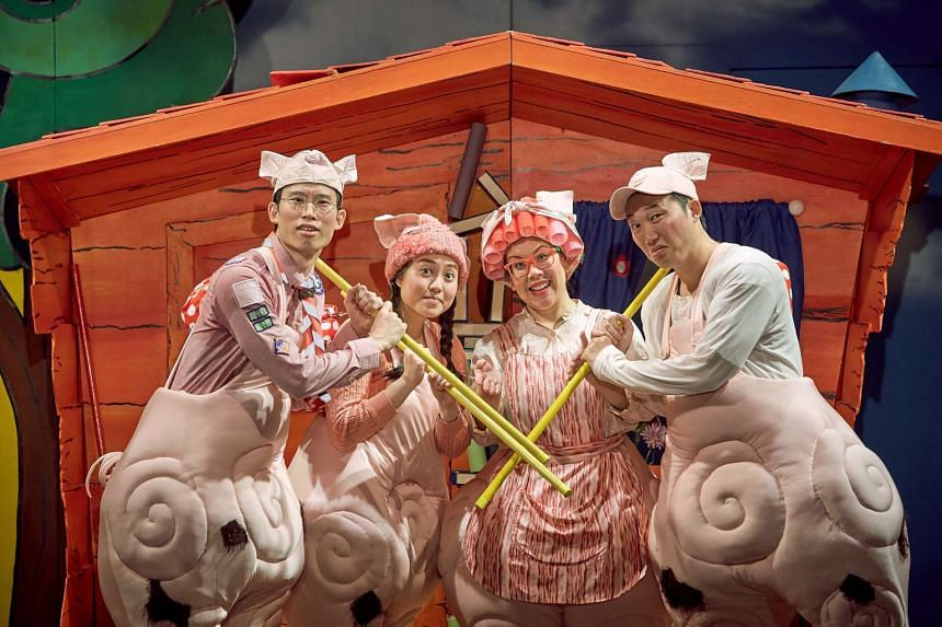Candice de Rozario (third from far left) with her castmates Benedict Hew, Ethel Yap and Andrew Lua in The Three Little Pigs.