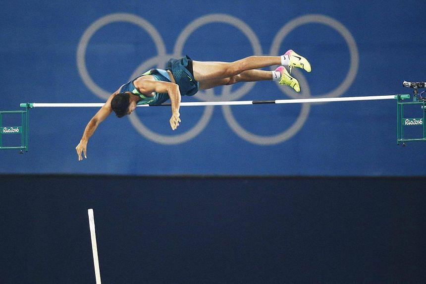 Thiago Braz da Silva of Brazil clears 6.03m in the Men's Pole Vault final of the Rio 2016 Olympic Games Athletics, Track and Field events, on August 15.