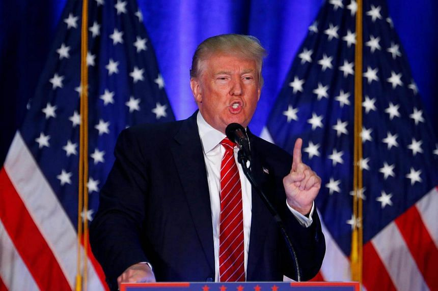 Republican presidential nominee Donald Trump speaks at Youngstown State University in Youngstown, Ohio on August 15.