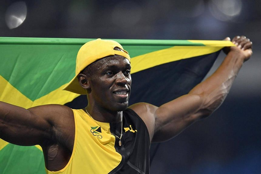 Jamaica's Usain Bolt celebrates after he won the Men's 100m Final during the athletics event at the Rio 2016 Olympic Games on August 14.