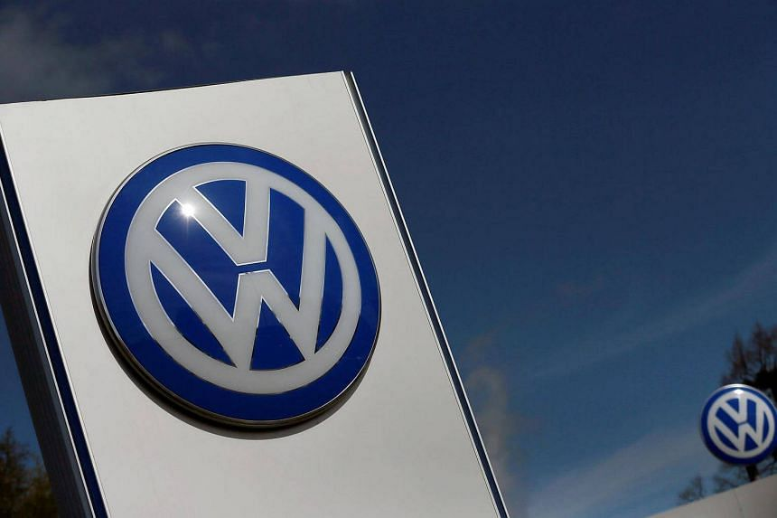 A Volkswagen logo is pictured at Volkswagen's headquarters in Wolfsburg, Germany, on April 22.