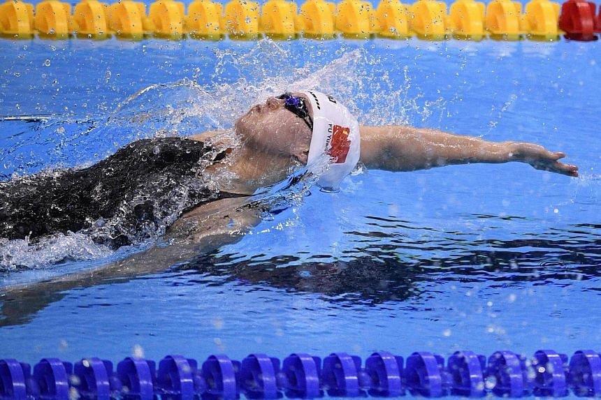 China's Fu Yuanhui competes in the Women's 100m Backstroke Final swimming event on August 8.
