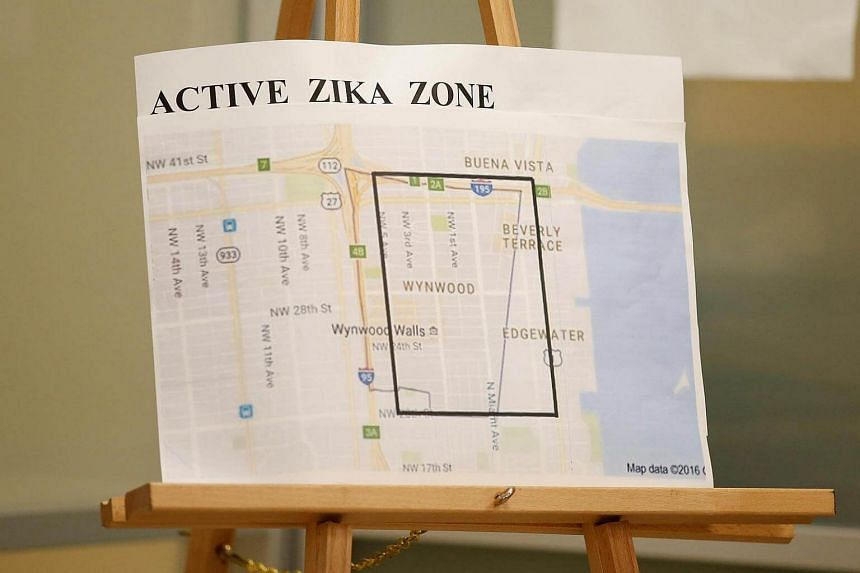 A map is seen of the active Zika zone at the Borinquen Health Care Center in Miami, Florida, August 9.