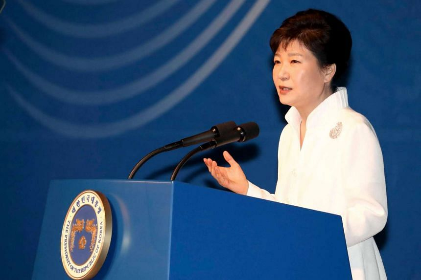 South Korean President Park Geun Hye giving a speech to mark Liberation Day at the Sejong Center for the Performing Arts in central Seoul, South Korea on August 15.