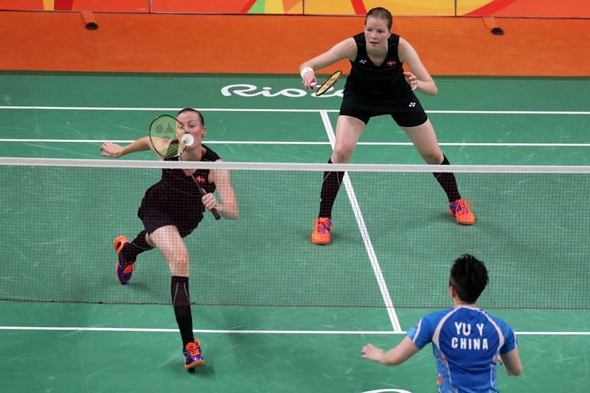 Kamilia Rytter Juhl (left) and Christtina Pedersen (right) form Denmark in action against China.