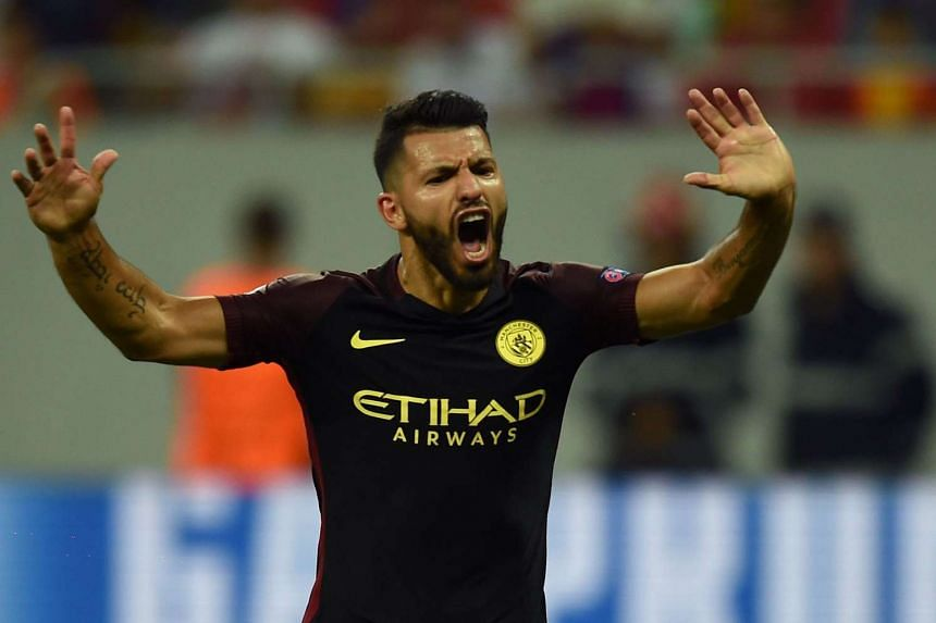Manchester City's Argentinian striker Sergio Aguero celebrates one of his goals.