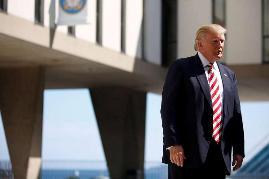 Republican US presidential nominee Donald Trump visits the Milwaukee County War Memorial Center in Milwaukee, Wisconsin on August 16.