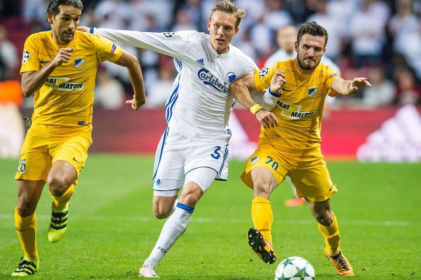 Nuno Morais, Apoel FC (left) Ludwig Augustinsson, FC Copenhagen (centre) and Nuno Morais Apoel FC during their UEFA Champions League Qualification playoff round first leg match at Telia Park, Copenhagen, Denmark, on August 16.