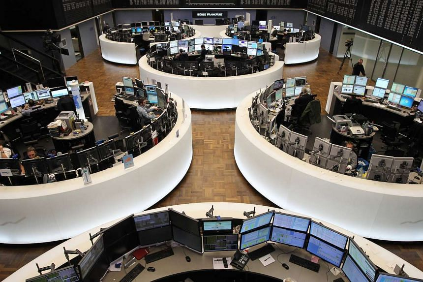 A view of the stock exchange in Frankfurt, Germany.